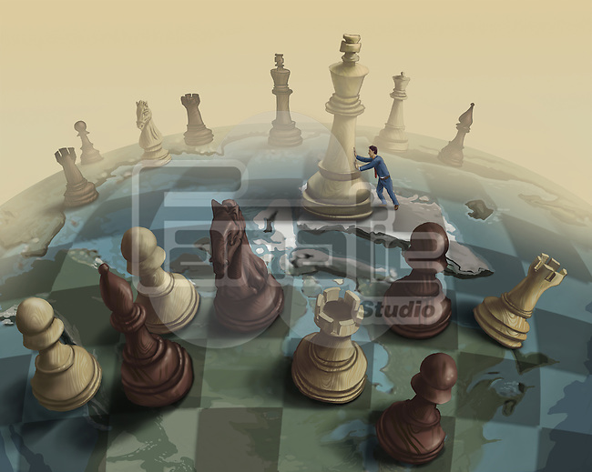 Conceptual shot of big chess pieces representing strategies for big business