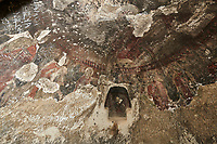 "Pictures & images of the interior frescoes of the  Comlekci Church,  10th century, the Vadisi Monastery Valley, ""Manastır Vadisi"",  of the Ihlara Valley, Guzelyurt , Aksaray Province, Turkey.<br /> <br /> Comlekci Church is a Roman Byzantine church dating from the 10th century. the south section of the roof frescoes depict the Evangel, Christmas and the adoration of the magi. The northern panel frescoes depict Christ and the Cross."