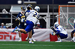 FOXBORO, MA - MAY 28: Brendan P. Smith (29) of the Limestone Saints attempts a shot on goal during the Division II Men's Lacrosse Championship held at Gillette Stadium on May 28, 2017 in Foxboro, Massachusetts. (Photo by Larry French/NCAA Photos via Getty Images)