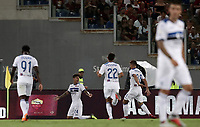 Calcio, Serie A: Roma - Atalanta, Stadio Olimpico, 27 agosto, 2018.<br /> Atalanta's Emiliano Rigoni (second from left) celebrates his second goal in the match with his teammates during the Italian Serie A football match between Roma and Atalanta at Roma's Stadio Olimpico, August 27, 2018.<br /> UPDATE IMAGES PRESS/Isabella Bonotto