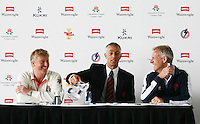 PICTURE BY VAUGHN RIDLEY/SWPIX.COM - Cricket - County Championship - Lancashire County Cricket Club 2012 Media Day - Old Trafford, Manchester, England - 03/04/12 - Lancashire CCC's Captain Glen Chapple, Director of Cricket Mike Watkinson and Head Coach Peter Moores have a laugh during the preseason press conference.