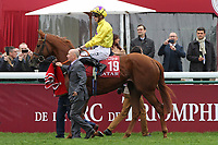 October 07, 2018, Longchamp, FRANCE - Sea of Class with James Doyle up at the parade for the Qatar Prix de l'Arc de Triomphe (Gr. I) at  ParisLongchamp Race Course  [Copyright (c) Sandra Scherning/Eclipse Sportswire)]