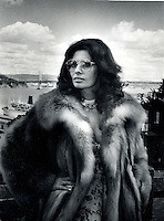 Actress Sophia Loren on a hill top in San Francisco, Ca.dressed in furs to keep off the Bay chill. .(photo 1979 by Ron Riesterer)