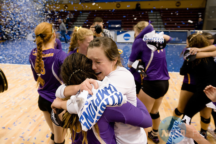 21 NOV 2015:  Cal Lutheran's Nicki Tetherow celebrates with teammates after winning the Division III Women's Volleyball Championship held at Van Noord Arena on the Calvin University campus in Grand Rapids, MI. Cal Lutheran defeated Wittenberg 3-0 for the national title. Erik Holladay/NCAA Photos