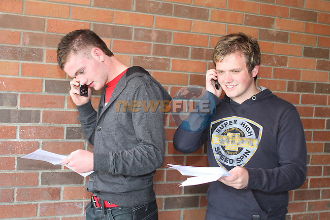 Michael McKeown and Brian McGlew after recieving their leaving cert results at St. Josephs School, Drogheda, Co.Louth...Picture Jenny Matthews/Newsfile.ie
