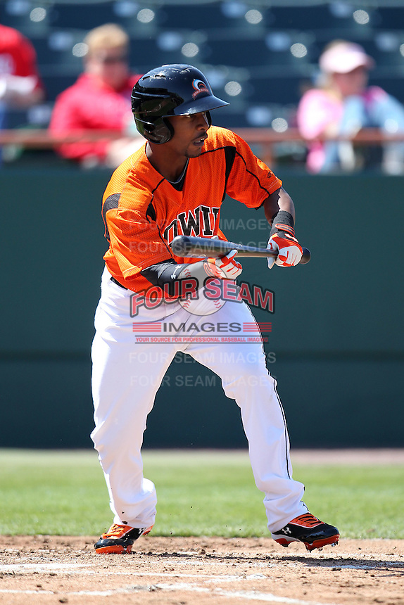Bowie BaySox outfielder L.J. Hoes #28 attempts a bunt during a game against the Harrisburg Senators at Prince George's Stadium on April 8, 2012 in Bowie, Maryland.  Harrisburg defeated Bowie 5-2.  (Mike Janes/Four Seam Images)