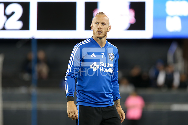 San Jose, CA - Saturday October 06, 2018: Magnus Eriksson prior to a Major League Soccer (MLS) match between the San Jose Earthquakes and the New York Red Bulls at Avaya Stadium.