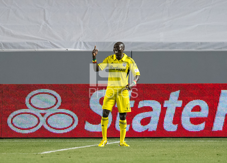 CARSON, CA - March 2, 2013: Columbus midfielder Dominic Oduro (11) celebrates his goal during the Chivas USA vs Columbus Crew match at the Home Depot Center in Carson, California. Final score, Chivas USA 0, Columbus Crew 3.