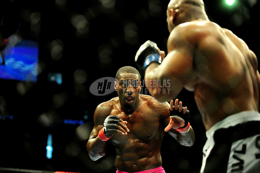 Aug. 7, 2010; Oakland, CA, USA; UFC fighter Phil Davis (left) against Rodney Wallace during the light heavyweight bout in UFC 117 at the Oracle Arena. Mandatory Credit: Mark J. Rebilas