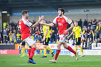 Fleetwood Town's Ashley Nadesan, right, celebrates scoring the opening goal Ched Evans<br /> <br /> Photographer Chris Vaughan/CameraSport<br /> <br /> The EFL Sky Bet League One - Saturday 23rd February 2019 - Burton Albion v Fleetwood Town - Pirelli Stadium - Burton upon Trent<br /> <br /> World Copyright © 2019 CameraSport. All rights reserved. 43 Linden Ave. Countesthorpe. Leicester. England. LE8 5PG - Tel: +44 (0) 116 277 4147 - admin@camerasport.com - www.camerasport.com