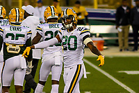 Green Bay Packers cornerback Kevin King (20) during a National Football League game against the Chicago Bears on September 28, 2017 at Lambeau Field in Green Bay, Wisconsin. Green Bay defeated Chicago 35-14. (Brad Krause/Krause Sports Photography)