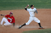Army infielder Alex Jensen #8 attempts to turn a double play as Zac Johnson #6 looks for the call during a game against the Illinois State Redbirds at Chain of Lakes Stadium on March 17, 2012 in Winter Haven, Florida.  Illinois State defeated Army 7-5.  (Mike Janes/Four Seam Images)
