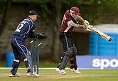 Scottish Saltires V Somerset Sabres, Friends Provident Trophy, Grange CC, Edinburgh - Sabres Peter Trego, bowled Haq, with Saltires keeper Simion Smith waiting on, for no runs off 2 balls - Picture by Donald MacLeod - 20 May 2009