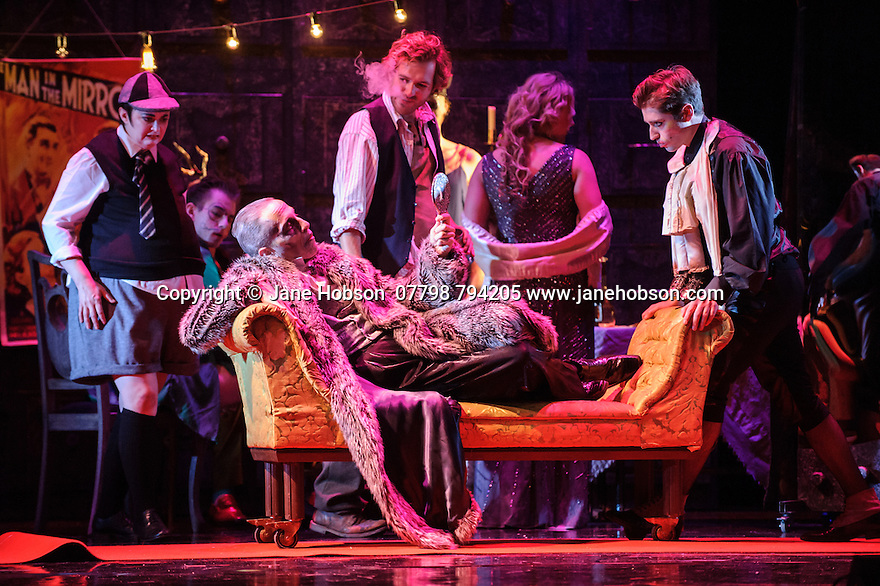 London, UK. 07.10.2015. English Touring Opera presents THE TALES OF HOFFMANN, at the Britten Theatre, Royal College of Music. Written by Jacques Offenbach, with libretto by Jules Barbier, this production is directed by James Bonas. Picture shows: Louise Mott (Nicklausse), Warwick Fyfe (Dr Miracle), Sam Furness (Hoffmann), Ilona Domnich (Giulietta), Ashley Mercer (Schlemil). Photograph © Jane Hobson.