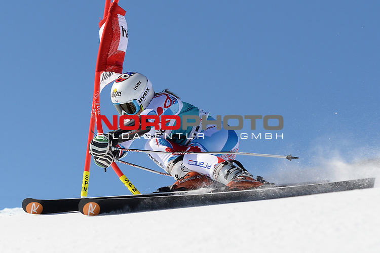 ST MORITZ, SWITZERLAND - DECEMBER 15: Adeline Baud of France during the Audi FIS Alpine Ski World Cup giant slalom race on December 15 2013 in St Moritz, Switzerland. <br /> Foto nph / Gunn