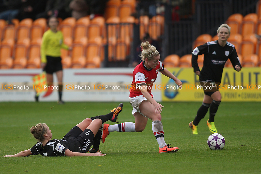 Kim Little of Arsenal Ladies is challenged by Ruesha Littlejohn of Glasgow City Ladies- Arsenal Ladies vs Glasgow City LFC - UEFA Womens Champions League Round of 16 First Leg Football at the Hive Stadium, Barnet FC, London - 09/11/13 - MANDATORY CREDIT: George Phillipou/TGSPHOTO - Self billing applies where appropriate - 0845 094 6026 - contact@tgsphoto.co.uk - NO UNPAID USE