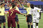 08 July 2007: Portugal captain Bruno Gama (7) and Gambia captain Ken Jammeh (5) shake hands prior to the coin flip. Gambia's Under-20 Men's National Team defeated Portugal's Under-20 Men's National Team 2-1 in a Group C opening round match at Olympic Stadium in Montreal, Quebec, Canada during the FIFA U-20 World Cup Canada 2007 tournament.