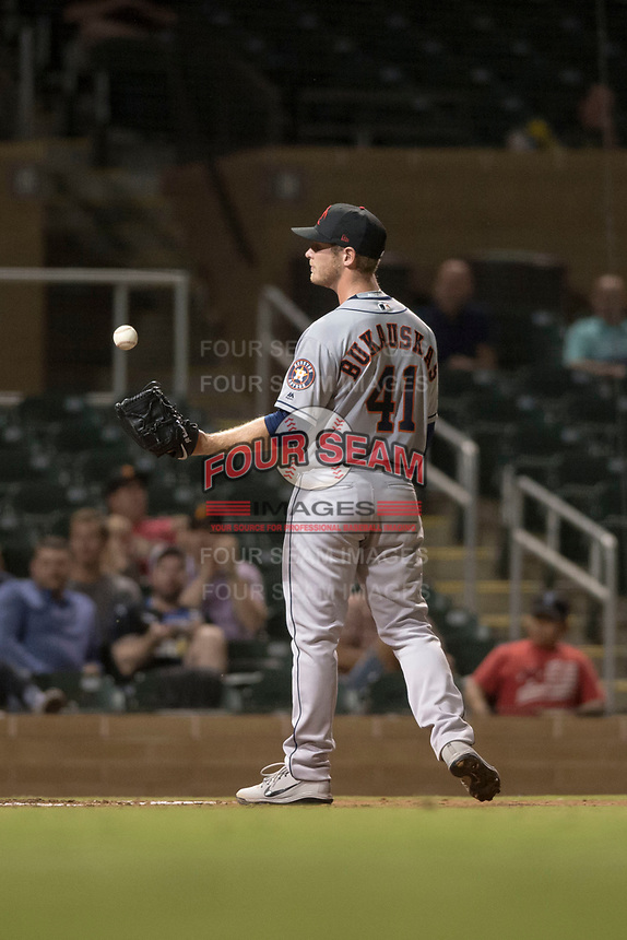 Scottsdale Scorpions relief pitcher J.B. Bukauskas (41), of the Houston Astros organization, during an Arizona Fall League game against the Salt River Rafters at Salt River Fields at Talking Stick on October 11, 2018 in Scottsdale, Arizona. Salt River defeated Scottsdale 7-6. (Zachary Lucy/Four Seam Images)