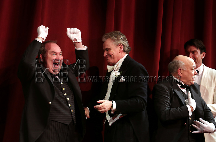 Blake Hammond, Douglas Sills, Scott Robertson and Jerry O'Connell during the Broadway Opening Night Performance Curtain Call for 'Living on Love' at The Longacre Theatre on April 20, 2015 in New York City.