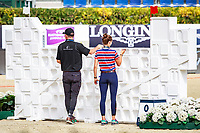 NZL-Richard Gardner tests the weight of the wall tiles. 2017 ESP-Longines FEI Nations Cup Jumping Final - CSIO Barcelona. Real Club de Polo de Barcelona. Wednesday 27 September. Copyright Photo: Libby Law Photography