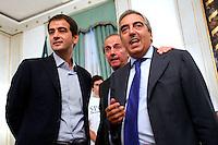 Raffaele Fitto, Andrea Ronchi e Maurizio Gasparri<br /> Roma 24-09-2015 Incontro 'Per l'Italia - Ricostruiamo il centrodestra'.<br /> Photo Samantha Zucchi Insidefoto