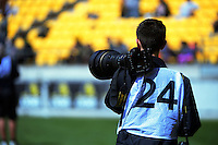 Photographer Marco Keller during the Mitre 10 Cup rugby union match between Wellington Lions and Taranaki at Westpac Stadium in Wellington, New Zealand on Sunday, 9 October 2016. Photo: Dave Lintott / lintottphoto.co.nz