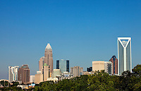 The Charlotte skyline, taken in July 2010. Buildings shown include the new Duke Energy Center tower (far right), One Wachovia Center, the Hearst Tower, and Bank of America Corporate Center.