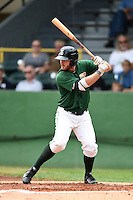 Clinton LumberKings outfielder Brett Thomas (8) at bat during a game against the Beloit Snappers on August 17, 2014 at Ashford University Field in Clinton, Iowa.  Clinton defeated Beloit 4-3.  (Mike Janes/Four Seam Images)