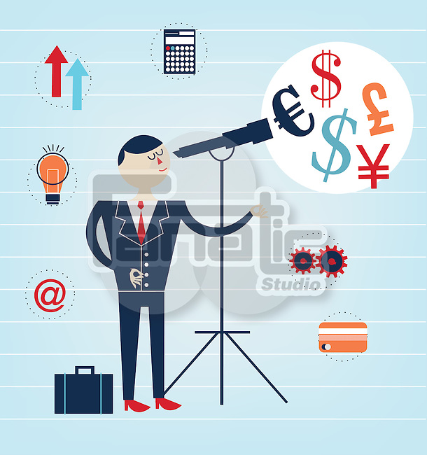 Illustrative image of businessman looking at currency signs through telescope representing forecast