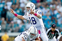 October 03, 2010:   Indianapolis Colts quarterback Peyton Manning (18) during AFC South Conference action between the Jacksonville Jaguars and the Indianapolis Colts at EverBank Field in Jacksonville, Florida.   Jacksonville defeated Indianapolis 31-28,........
