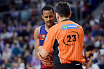 FC Barcelona Lassa's Alex Renfroe talking with the referee during Liga Endesa match between Real Madrid and FC Barcelona Lassa at Wizink Center in Madrid, Spain. March 12, 2017. (ALTERPHOTOS/BorjaB.Hojas)