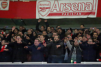 Eintracht Frankfurt fans celebrate their victory at the final whistle during Arsenal vs Eintracht Frankfurt, UEFA Europa League Football at the Emirates Stadium on 28th November 2019