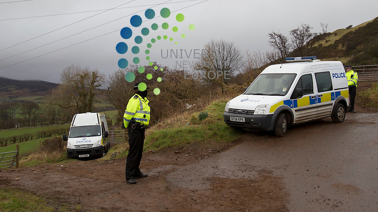 Strathclyde police guard the field that will be searched for the missing women Lynda Spence - Police investigating the abduction and murder of financial adviser Lynda Spence have confirmed they are searching a field in North Ayrshire..The 28-year-old has not been seen since 13 April last year when she left her parents' house in Glasgow Harbour..Police said a field in the Law Hill area of West Kilbride was being searched in connection with the case..In November, four men were charged with Ms Spence's abduction and murder. Her body has not yet been found..Picture: Maurice McDonald/Universal News And Sport (Scotland). 16 February 2012. www.unpixs.com..