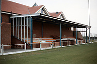 Main stand at Burnham Ramblers FC Football Ground, Leslie Field, Springfield Road, Burnham-on-Crouch, Essex, pictured on 2nd May 1990