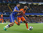 Chelsea's Diego Costa tussles with Manchester City's Fabian Delph during the Premier League match at the Stamford Bridge Stadium, London. Picture date: April 5th, 2017. Pic credit should read: David Klein/Sportimage