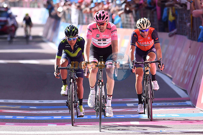 Race leader Tom Dumoulin (NED) Team Sunweb attacks Nairo Quintana (COL) Movistar and Vincenzo Nibali (ITA) Bahrain-Merida across the finish line of Stage 18 of the 100th edition of the Giro d'Italia 2017, running 137km from Moena to Ortisei/St. Ulrich, Italy. 25th May 2017.<br /> Picture: LaPresse/Gian Mattia D'Alberto | Cyclefile<br /> <br /> <br /> All photos usage must carry mandatory copyright credit (&copy; Cyclefile | LaPresse/Gian Mattia D'Alberto)