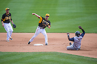 Alex Yarbrough (9) of the Salt Lake Bees starts the double play against the Colorado Springs Sky Sox in Pacific Coast League action at Smith's Ballpark on May 24, 2015 in Salt Lake City, Utah.  (Stephen Smith/Four Seam Images)