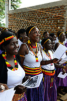 UGANDA, Karamoja, Kaabong, Karamojong tribe, catholic church, holy mass and diakon ordination / katholische Kirche, Gottesdienst und Diakon Weihe, Gospel Chor