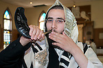 jewish Judaism  blowing of Shofars @ Rosh Hashanah high holy days   woodbourne n.y.