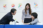 (L-R) Ryohei Miyata, Ai Sugiyama, Aki Taguchi, April 8, 2016 : <br /> The Tokyo 2020 Emblems Selection Committee unveiled Shortlisted Emblem designs in Tokyo, Japan. (Photo by Yohei Osada/AFLO SPORT)