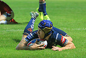 7th September 2017, Beaumont Legal Stadium, Wakefield, England; Betfred Super League, Super 8s; Wakefield Trinity versus St Helens; Theo Fages of St Helens scores a try