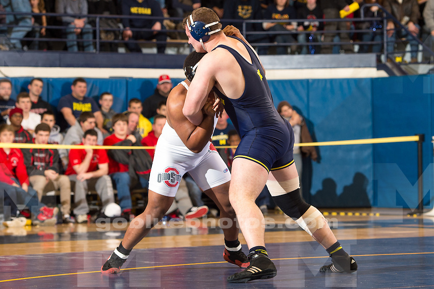 The University of Michigan men's wrestling team; 25-15 loss to Ohio State University at Cliff Keen Arena in Ann Arbor, Mich., on Jan. 18, 2015.
