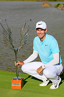 Dylan Frittelli (RSA) poses with the trophy after the final round of the Afrasia Bank Mauritius Open played at Heritage Golf Club, Domaine Bel Ombre, Mauritius. 03/12/2017.<br /> Picture: Golffile   Phil Inglis<br /> <br /> <br /> All photo usage must carry mandatory copyright credit (&copy; Golffile   Phil Inglis)