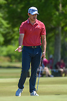 Patrick Cantlay (USA) reacts to barely missing his putt on 7 during Round 1 of the Zurich Classic of New Orl, TPC Louisiana, Avondale, Louisiana, USA. 4/26/2018.<br /> Picture: Golffile | Ken Murray<br /> <br /> <br /> All photo usage must carry mandatory copyright credit (&copy; Golffile | Ken Murray)
