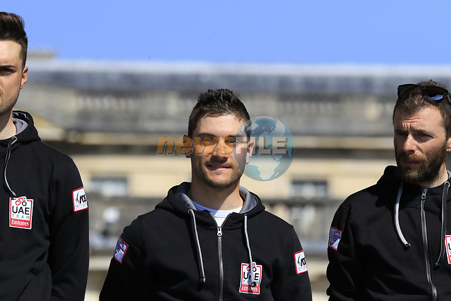 Andrea Guardini (ITA) UAE Emirates team at the Team Presentation for the upcoming 115th edition of the Paris-Roubaix 2017 race held in Compiegne, France. 8th April 2017.<br /> Picture: Eoin Clarke | Cyclefile<br /> <br /> <br /> All photos usage must carry mandatory copyright credit (&copy; Cyclefile | Eoin Clarke)