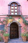Mexico, Baja California Sur, Loreto, Mission Neustra Senora de Loreto, Posada De Las Flores Doorway (This image has a property release.)