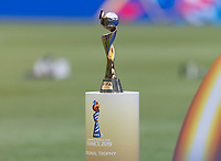 LYON,  - JULY 7: FIFA Women's World Cup trophy during a game between Netherlands and USWNT at Stade de Lyon on July 7, 2019 in Lyon, France.