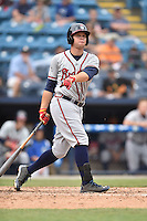 Rome Braves right fielder Braxton Davidson (24) swings at a pitch during a game against the Asheville Tourists on May 17, 2015 in Asheville, North Carolina. The Tourists defeated the Braves 9-8. (Tony Farlow/Four Seam Images)