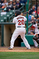Rochester Red Wings Wilin Rosario (20) bats during an International League game against the Charlotte Knights on June 16, 2019 at Frontier Field in Rochester, New York.  Rochester defeated Charlotte 3-2 in the second game of a doubleheader.  (Mike Janes/Four Seam Images)