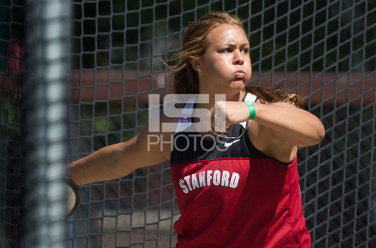 Stanford, CA., April 20, 2013,--Stanford's Rebecca Hammar throws the discus at the 119 Big Meet at Cobb Track and Angell Field at Stanford University.